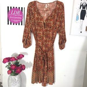 Tacera Brown multi print shift dress 1X
